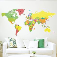 Large Countries Of The World Map Wall Sticker from notonthehighstreet.com