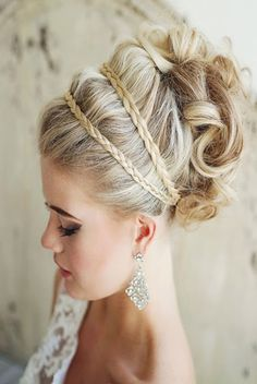 curly wedding updos, curly wedding hairstyles, wavy wedding hair - curly wedding updo with braided headband Elegant Wedding Hair, Wedding Hair And Makeup, Chic Wedding, Wedding Updo, Sophisticated Wedding, Elegant Updo, Trendy Wedding, Glamorous Wedding, Prom Updo