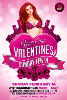 Valentines Day Party Flyer Template  DOWNLOAD HERE: http://xtremeflyers.com/valentines-day-flyer/