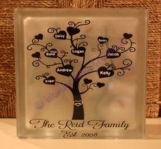 Heart Family Tree Glass Block by WonderMomCreations on Etsy