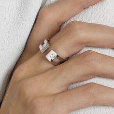 Gemmyo : Bague Athéna XL - Or rose 18 cts, Diamant
