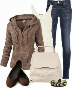 Casual Outfits | Comfort and Joy  Fat Face Hoodie, Vince Chunky-Knit Tank Top, JACOB COHEN Jeans, Flat Shoes, Atmos&Here Handbag  by orysa