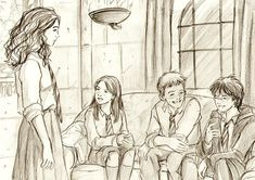 Ginny, Hermione, Ron y Harry