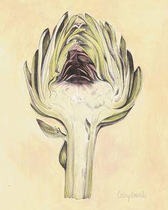 Artichoke II Botanical Print Vintage Look by cathysavelspaintings Illustration Botanique, Botanical Illustration, Vintage Botanical Prints, Botanical Art, Impressions Botaniques, Ink Pen Drawings, Kitchen Art, Kitchen Decor, Vintage Looks