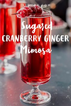 From Thanksgiving straight through to Valentine's Day, this is the perfect, simple sipper! Easy Cocktails, Cocktail Drinks, Cocktail Recipes, Red Cocktails, Cocktail Ideas, Thanksgiving Drinks, Christmas Cocktails, Sweet Mixed Drinks, Sugared Cranberries