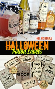 Create Spooky Halloween Potion Bottles with Our 10 FREE Printable Labels – Halloween Bottle Labels, Halloween Apothecary, Halloween Potions, Cheap Halloween, Halloween Drinks, Spooky Halloween, Halloween Stuff, Halloween Party, Halloween Crafts