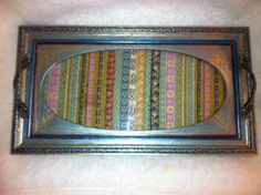 Hand Painted Bohemian Tray With Fabric Under by NanabugsTreasures, $20.00