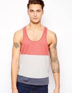 ASOS Stripe Vest With Cut And Sew Panels