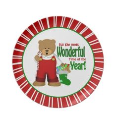 #Christmas Bear #Personalized #Plate.