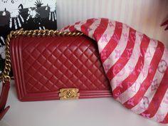 Chanel Boy Bag medium plus & LV Rayures Scarf