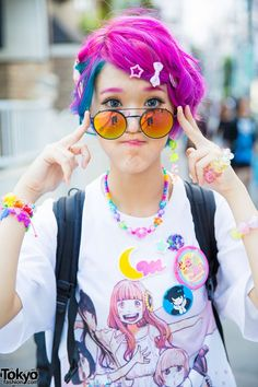 Harajuku Girl w/ Colorful Hair, Dempagumi.inc Dress, 6%DOKIDOKI & Cosmic Magicals (Tokyo Fashion, 2015)