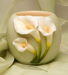 Calla Lily Votive - One Ceramic Flowers, Clay Flowers, Flower Vases, Flower Pots, Paper Flowers, Painted Flowers, Cold Porcelain Flowers, Vase Crafts, Clay Crafts