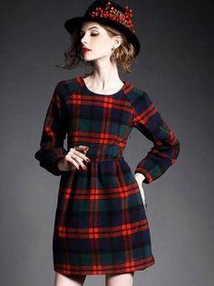 Multi Plaid Round Neck Long Sleeve Dress | www.ustrendy.com   #USTrendy