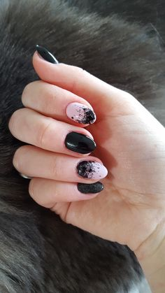 black lace and pink nails