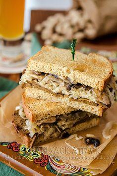 Seitan Sauerkraut Sandwich- These are a few of my favorite things! #vegan
