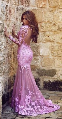 2016 Lilac Long Sleeves Mermaid Prom Dresses Sheer Lace Backless Sexy Evening Gowns _www.babyonlinedress.com