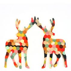Honeycomb Elk Wall Hook- google simple silhouette and do with hole punched circles (zoo page?)