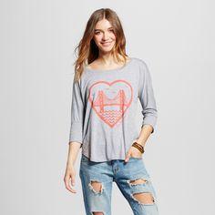 Women's San Francisco Heart 3/4 Sleeve Top L - Heather Gray (Juniors')