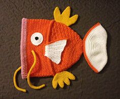 Karpe Diem: Useless Goldfish Monster Hat (Magikarp inspired) - free crochet teen/adult pattern by Akabeko Botan.
