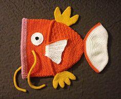 Karpe Diem: Useless Goldfish Monster Hat (Magikarp inspired) - free crochet teen/adult pattern by Akabeko Botan.