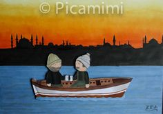 Istanbul silüeti The Istanbul Silhouette by Picamimi Istanbul, Silhouette, Cute, Painting, Kawaii, Painting Art, Paintings, Silhouettes