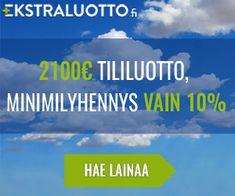 Ekstraluotto mahdollistaa kätevän ratkaisun pidempiaikaisiin rahoitustarpeisiin. Ekstraluoton Laina on 2100 euron tililuotto.   Ei sisällä muita kustannuksia, kun koko laina maksetaan takaisin ensimmäisenä eräpäivänä  Saat keskimäärin 30 päivää korotonta maksuaikaa #ekstraluotto.fi #tililuotto #laina #nopeelaina