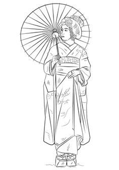 Japans meisje in traditionele kleding kleurplaat