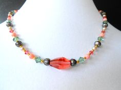 Pearl Coral and Swarovski Crystal Necklace by mdeja on Etsy, $86.00