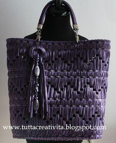 la creatività di Antonella: BORSE IN RETE E FETTUCCIA