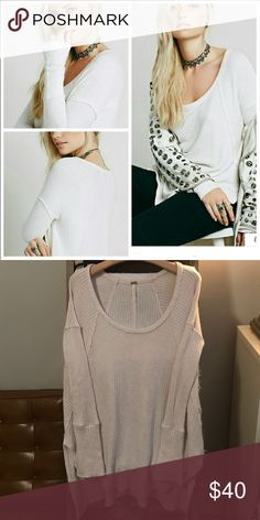 Free people oatmeal ventura thermal One of Free People's staple pieces! Looks wonderful layered over slips ❤ in excellent condition!! Size XS Free People Tops Tees - Long Sleeve