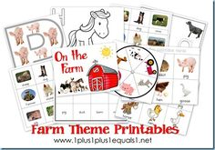 Collection of free farm theme printables for various ages.