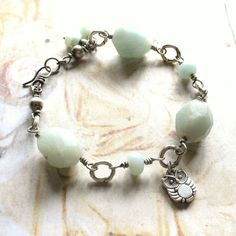 Owl and Amazonite - Oxidized Sterling Silver Gemstone Handmade Artisan Wire Wrapped Bracelet