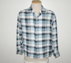 Vintage 1950s Shirt / 50s Plaid Shirt / 50s Blue Plaid Shirt / 50s Shirt In Blue, White & Black By Penney's Towncraft - M by SayItWithVintage on Etsy
