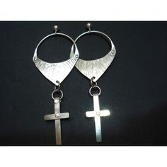 CUSTOM REQUEST Hammered Silver Hoop Cross Earrings Sterling Silver... ($29) ❤ liked on Polyvore featuring jewelry, earrings, hoop earrings, silver jewellery, hammered silver earrings, silver dangle earrings and silver cross earrings
