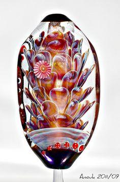 42 glass pearl panes strand black-brown lampwork
