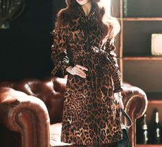 Women classical Leopard brown long trench coats Belted floral print trench coats #nobrand #Trench