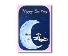 Baby Cow Man in the Moon Digital Card Moon by CowberryMoonCards