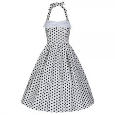 'Deidre' White Polka Dot Halter Neck Swing Dress