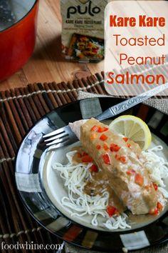 Kare Kare Toasted Peanut Salmon, plus a giveaway from Pulo Cuisine! Fish In Coconut Milk, Salmon Recipes, Salmon Food, Kare Kare, Poached Salmon, Shirataki Noodles, Salmon Fillets, Peanut Sauce, Peanuts