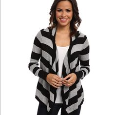 Stripe hoodie cardigan Size medium 24 inches long with a hoodie. Colors are black and gray. Long sleeve. 60% Cotton 20% nylon and 20% Viscose U.S. Polo Assn.  Sweaters Cardigans