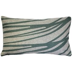 This original rectangular Luonto Meri Green Pillow in sage green features the clean lines that are the hallmark of the Kukamuka Scandinavian styling.