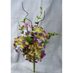 1 Pc, 16 Inch Artificial Hydrangea Berry Spray As Filler & To Add Color For Arrangements & Decorations - Green/Plum