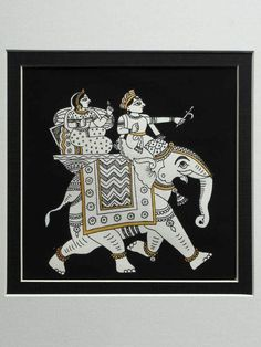 An Indian Phad painting from Rajasthan depicting a lady and gentleman riding on a caparisoned elephant. A fine example of Indian folk art painting. Phad Painting, Mural Painting, Paintings, Indian Folk Art, Art Drawings, Elephant, Presents, Shapes