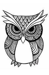 Zentangle Art Art - Tribal Owl - Black and White by Carissa Weber