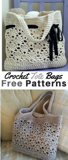 Crochet Tote Bag Patterns #Totes