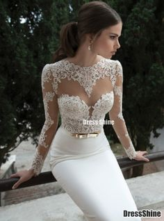 Hot Sell Gorgeous Sheath Scoop Neckline Chiffon Long Lace sleeves Wedding Dress - Wedding Dresses - Weddings