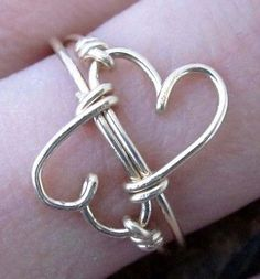 Double Heart Infinity Ring   14K GF   Love Ring   All Sizes Available