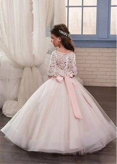 Junoesque Tulle & Lace Scoop Neckline Ball Gown Flower Girl Dresses With Beaded Handmade Flowers