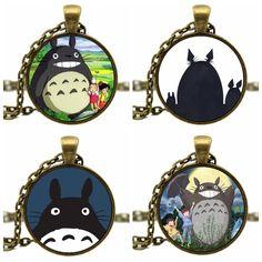 Bronce de la manera Cadena de Acrílico Cabochon Kawaii Lindo Japonés de Dibujos Animados Anime Totoro Divergente Collar De Joyería de Las Mujeres de La Muchacha