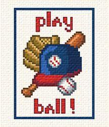 DIY Chart Counted Cross Stitch Patterns Needlework 14 ct Vintage Baseball